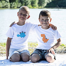 Detské oblečenie - Set 2x detské tričko DINO MODRÝ a DINOSAURUS ORANŽOVÝ 86 - 134 (dlhý aj krátky rukáv) - 12228505_