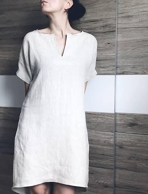 Šaty - Ľanové šaty basic  - 12228932_