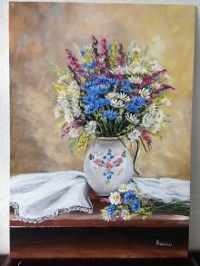 Obrazy - Zatišie lúčne kvety v maľovanom krčahu - 12229978_