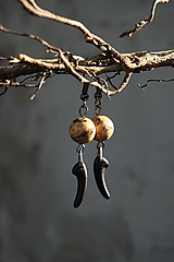 Náušnice - Náušnice - Jaspis s čiernym zúbkom - 12229320_