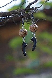 Náušnice - Náušnice - Jaspis s čiernym zúbkom - 12229300_