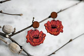 Náušnice - Drevené maľované náušnice Divé maky - 12228605_