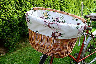 Košíky - Prútený košík na bicykel - svetlý  (Svetlé kvety) - 12227902_
