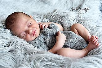 Detské oblečenie - Newborn body s krátkymi rukávmi, svetlosivé, s vreckom, čiapočka - 12229158_
