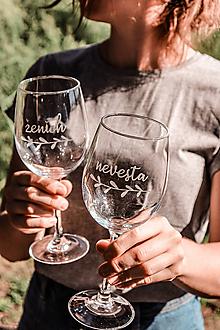 Nádoby - Svadobné poháre - sklenené nevesta a ženích - 12228872_