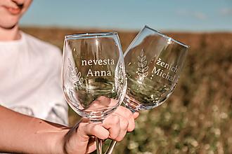 Nádoby - Svadobné poháre - sklenené s menom - 12228893_