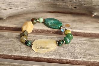 Náramky - Boho náramok z mixu veľkých minerálov - citrín, achát, jadeit - 12229200_