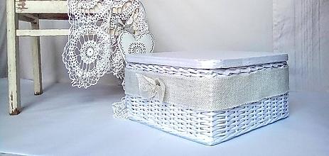 Košíky - Krabička s jutovou lemovkou - 12229285_