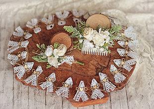 Ozdoby do vlasov - Svadobný set biela romantika - pierko, hrebienok - 12231012_