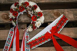Ozdoby do vlasov - Folklórna svadobná kvetinová parta - 12232988_