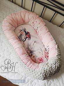 Textil - Hniezdo pre bábätko ružové so šedou minky - 12232004_