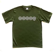 Tričká - Pánske tričko s folklórnym motívom, zelené - horizontálny vzor - 12232984_