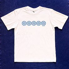 Tričká - Pánske tričko s folklórnym motívom, biele - horizontálny vzor - 12232985_