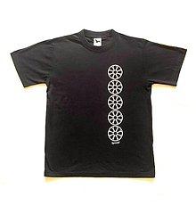 Tričká - Pánske tričko s folklórnym motívom, modročierne - vertikálny vzor - 12232993_