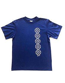 Tričká - Pánske tričko s folklórnym motívom, kráľovská modra - vertikálny vzor - 12232999_