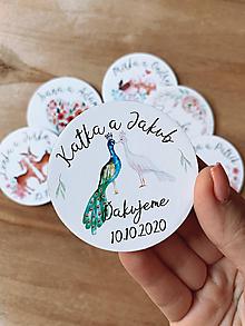 Darčeky pre svadobčanov - Magnetky pre svadobčanov pávy - 12234893_