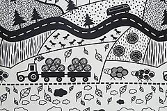 Textil - Teplákovina Čiernobiely vidiek - 12235464_