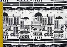 Textil - Teplákovina Čiernobiele mesto - 12235491_