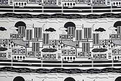 Textil - Teplákovina Čiernobiele mesto - 12235493_