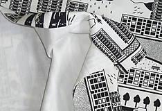 Textil - Teplákovina Čiernobiele mesto - 12235494_