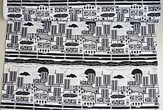Textil - Teplákovina Čiernobiele mesto - 12235497_