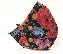 Rúška - Dizajnové bavlnené - čierne s kvetmi a zlatými odleskami - 12234795_