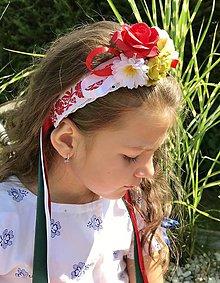 Ozdoby do vlasov - Folklórna kvetinová parta (čelenka) do vlasov - 12234715_