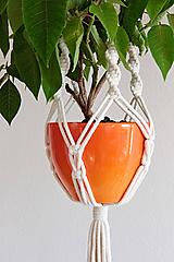 """Dekorácie - makramé záves na kvetináč """"pure"""" natural biely - 12236782_"""