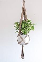 Dekorácie - makramé záves na kvetináč pieskový - 12236840_