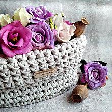 Košíky - Latte Pearls   štýlový háčkovaný košík - 12239203_