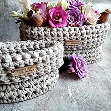 Košíky - Latte Pearls   malý háčkovaný košík - 12239227_