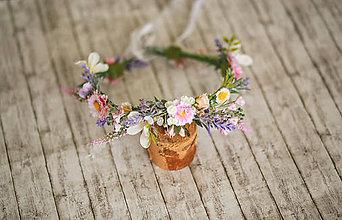 Ozdoby do vlasov - Kvetinový venček z lúčnych kvetov - 12239561_