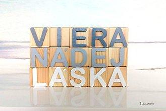 Dekorácie - Drevené kocky Viera* nádej* láska - 12236468_