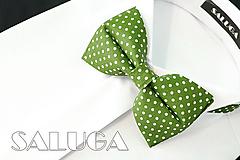 Doplnky - Pánsky zelený motýlik - bodkovaný - hráškový - 12238516_