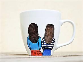 Nádoby - Maľovaný hrnček pre sestru (2 postavičky) - 12238217_