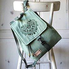 Batohy - Ľanový midi batôžtek I❤️ FOLK *zelený* - 12237032_