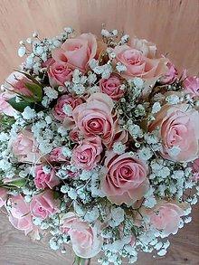 Kytice pre nevestu - V jemnej ružovej z ruží - 12239468_