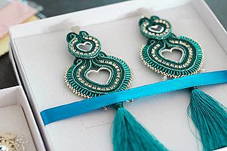 Náušnice - Srdcia (Smaragdové) - 12240237_