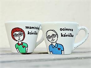 Nádoby - Maľovaná šálka na kávu 130 ml - Postavičky - 12241768_