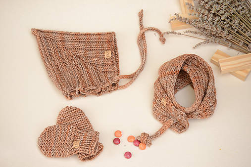Baby set LEYA (čiapka, šál, rukavice), 100% merino