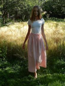 Sukne - Dámska ľanová sukňa ružová - 12240254_