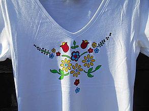 Tričká - kvietky maľované-folk tričko M - 12243348_