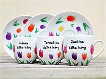 Nádoby - Maľovaná šálka s podšálkou - Tulipány - 12242601_