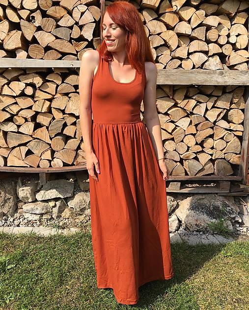 Šaty - Dlhé letné tielkové šaty- CINNAMON - 12243507_
