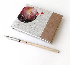 Papiernictvo - Vyšívaný zápisník Hnedý kruh - A6 - 12242033_