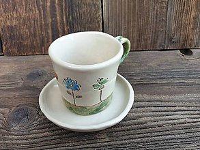 Nádoby - Espresso šálka + tanierik Šťastíčko 100 ml - 12244324_