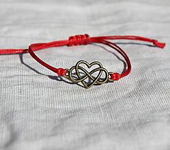 """Náramky - náramok """"nekonečná láska"""" (červená) - 12243916_"""