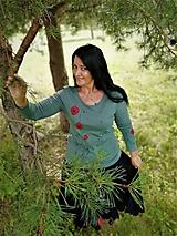 Tričká - Maky - maľované tričko organ.bavlna zelené - 12245537_