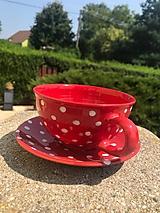 Nádoby - Červená čajová šálka s podšálkou - 12244270_