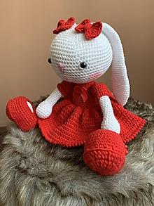 Hračky - zajačica Fazuľka  - v červenom - 12245245_